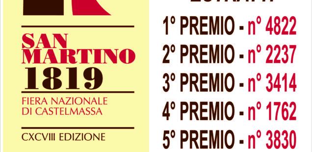 198^ Fiera di San Martino – NUMERI VINCENTI DELLA LOTTERIA